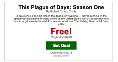 Are you on Bookbub? Here's what the email looks like for my TPOD promo. Sale ends at midnight, never to return. Enjoy.